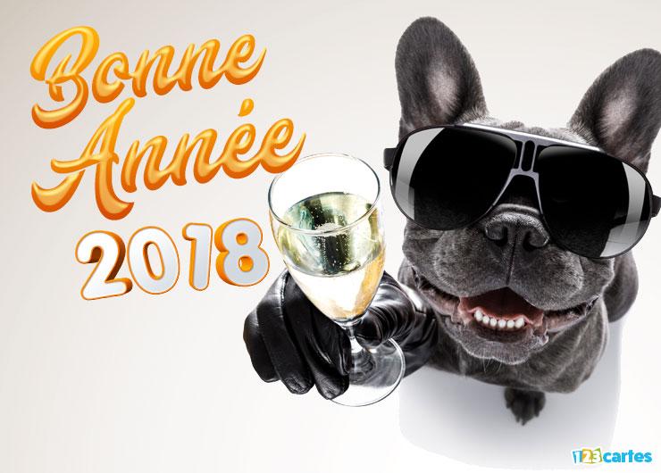 Carte bonne annee 2018 chien trinquons